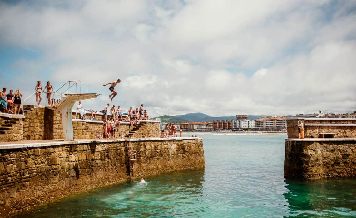 Spain Zarautz Surf Village Harbour jump