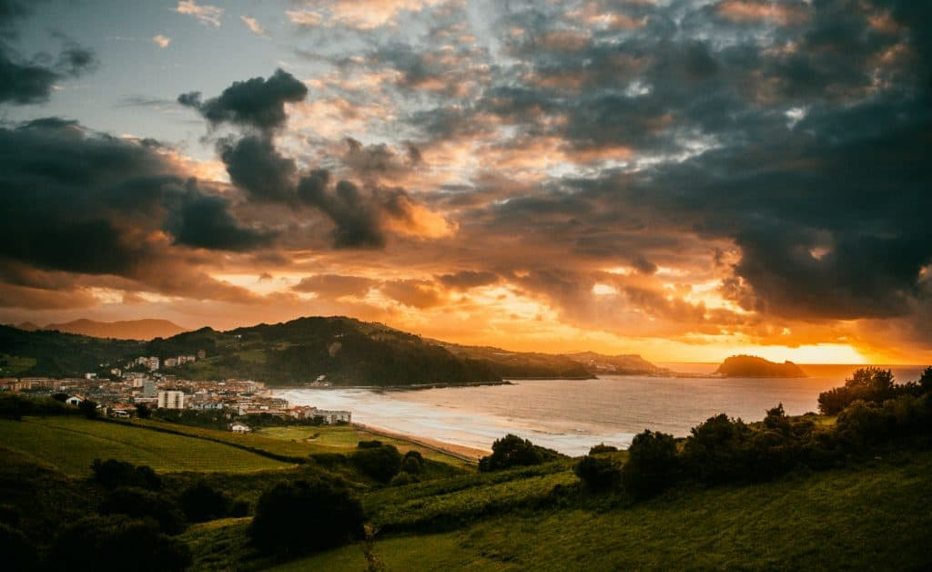 Spain Surf Village Zarautz Sunset town