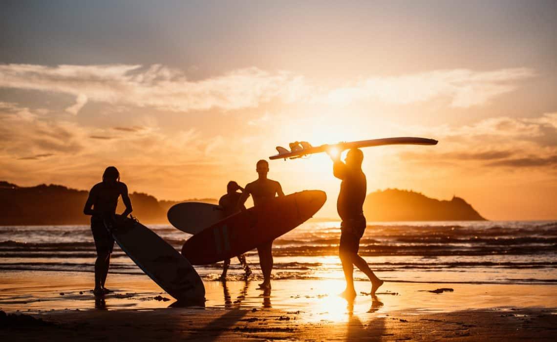 Spain Surf Village Zarautz sunset surfers beach
