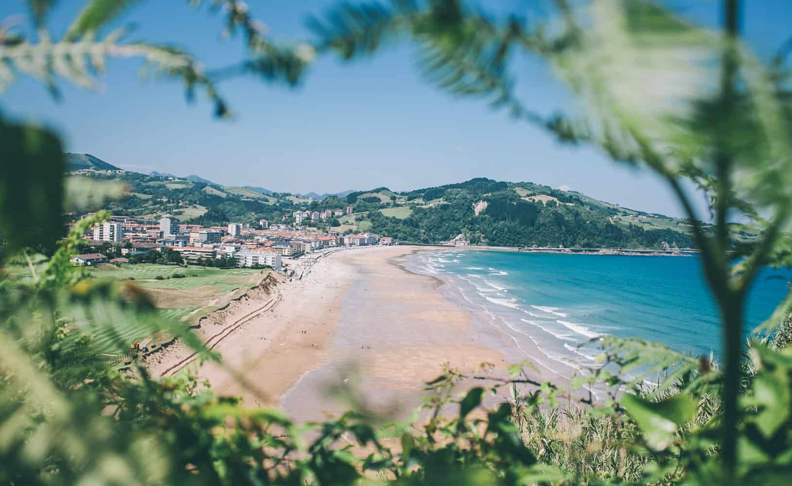 Spain Zarautz Surf Village view beach and village